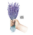 watercolor hand with lavender bouquet vector image vector image