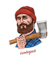 woodcutter or lumberjack with an ax traditional vector image
