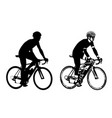 xabicyclist sketch and silhouette vector image vector image