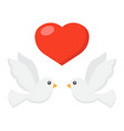 wedding doves with heart flat icon valentines day vector image