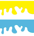 Flowing down paint yellow and blue set isolated vector image