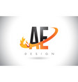 ae a d letter logo with fire flames design and vector image vector image