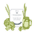 badge design with pastel broccoli green beans vector image