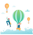 business people characters flying in air balloon vector image