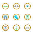 caring for eyes icons set cartoon style vector image vector image