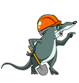Cartoon shrew in a helmet with a shovel vector image vector image