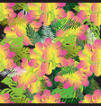 colorful exotic tropical flowers seamless pattern vector image vector image