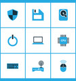 computer icons colored set with laptop cpu wifi vector image vector image