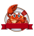 Crab and sign vector image vector image