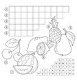 crossword puzzle game with fruits educational vector image vector image