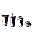 cups and cans set vector image vector image