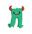 cute cartoon horned green monster character vector image vector image