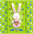 cute easter background with bunny and wicker vector image vector image
