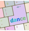 dance button on computer pc keyboard key vector image vector image
