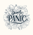 dont panic line lettering vector image vector image