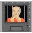 elderly man looking from behind bars vector image