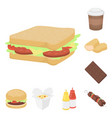 fast food cartoon icons in set collection for vector image