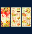 fast food combo meals burgers and pizza menu vector image vector image