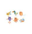 flat set cute little birds lovely vector image vector image
