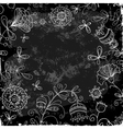 flower doodle on a background of black plank vector image vector image