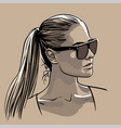 girl in sunglasses with ponytail hairstyle vector image vector image