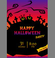 halloween party circle silhouette greeting vector image vector image