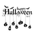 happy halloween text banner with spiders vector image vector image