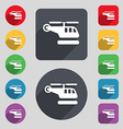 helicopter icon sign A set of 12 colored buttons vector image vector image