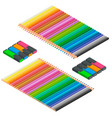 isometric set of colored pencils and markers vector image vector image