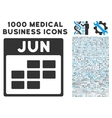 June Calendar Grid Icon With 1000 Medical Business vector image
