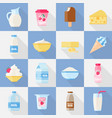 milk product flat icon set vector image vector image