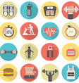 Modern Flat Design Fitness icon Set vector image vector image
