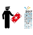 Officer Icon with 2017 Year Bonus Symbols vector image
