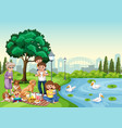 park scene with happy family enjoying picnic vector image