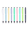 pastel colored automatic ballpoint pens vector image vector image