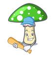 playing baseball green amanita mushroom character vector image vector image
