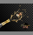 realistic champagne explosion closeup vector image vector image