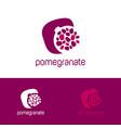 red pomegranate logo grains identity vector image