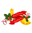 red ribbon sticker with holly berry pine branch vector image vector image