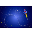 Rocket in space background vector image vector image