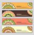 set of gorizontal cards with hand drawn mandala vector image