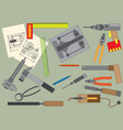 set of hand tools for productive work vector image vector image