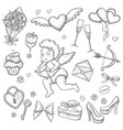 set of sketch valentines day icons vector image