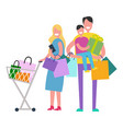 shopping family on white vector image vector image