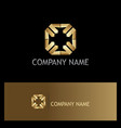square arrow point gold logo vector image