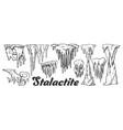 stalactite and stalagmite monochrome set vector image vector image