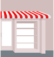 Storefront with striped roof Red and white stripes vector image vector image