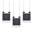 three photo frames hang on the wall with shadow vector image vector image