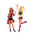 two girls women friends dancing at 90s retro vector image