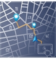 Using tablet for street map navigation vector image vector image